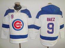 Mens Majestic Mlb Chicago Cubs #9 Javier Baez White Hoodie Jersey