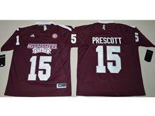 Mens Ncaa Nfl Mississippi State Bulldogs #15 Dak Prescott Maroon Jersey