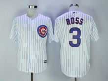 Mens Majestic Mlb Chicago Cubs #3 Ross White Stripe Cool Base Jersey