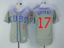 Mens Majestic Mlb Chicago Cubs #17 Kris Bryant Gray Flex Base (cubs) Jersey