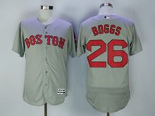 Mens Majestic Mlb Boston Red Sox #26 Wade Boggs Gray Flex Base Jersey
