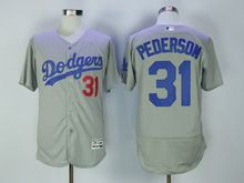 Mens Majestic Mlb Los Angeles Dodgers #31 Joc Pederson Gray Flex Base Jersey