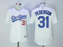 Mens Majestic Mlb Los Angeles Dodgers #31 Joc Pederson White Flex Base Jersey