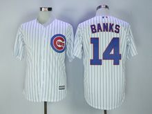 Mens Mlb Chicago Cubs #14 Ernie Banks White Stripe Cool Base Jersey