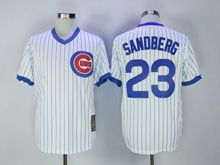 Mens Mlb Chicago Cubs #23 Ryne Sandberg White Stripe Throwbacks Jersey