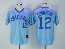 Mens Mlb Chicago Cubs #12 Kyle Schwarber Blue Stripe Pullover Throwbacks Jersey