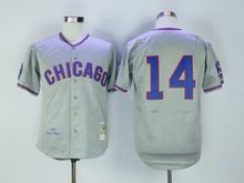 Mens Mlb Chicago Cubs #14 Ernie Banks Gray 1968 Throwbacks Jersey
