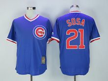 Mens Mlb Chicago Cubs #21 Sammy Sosa Blue Pullover Throwbacks Jersey