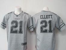Mens Nfl Dallas Cowboys #21 Ezekiel Elliott Gray Stitched Gridiron Limited Jersey