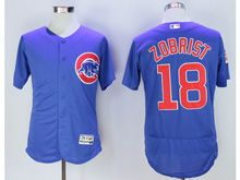 Mens Majestic Mlb Chicago Cubs #18 Ben Zobrist Blue Flex Base Jersey