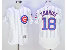 Mens Majestic Mlb Chicago Cubs #18 Ben Zobrist White Stripe Flex Base Jersey