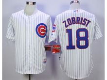 Mens Majestic Mlb Chicago Cubs #18 Ben Zobrist White Stripe Cool Base Jersey