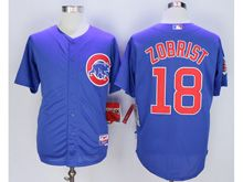 Mens Majestic Mlb Chicago Cubs #18 Ben Zobrist Blue Cool Base Jersey
