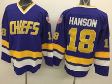Mens Slap Shot Charlestown Chiefs #18 Jeff Hanson Blue Movie Hockey Jersey