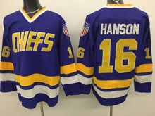 Mens Slap Shot Charlestown Chiefs #16 Jack Hanson Blue Movie Hockey Jersey
