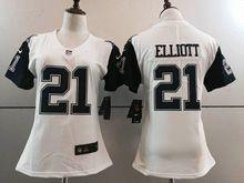 Women   Dallas Cowboys #21 Ezekiel Elliott White Color Rush Limited Jersey