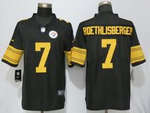 Mens   Nfl Pittsburgh Steelers #7 Ben Roethlisberger Black Color Rush Limited Jersey