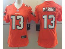 Women Nfl Miami Dolphins #13 Dan Marino Orange Vapor Untouchable Color Rush Limited Player Jersey