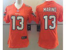 Women Nfl Miami Dolphins #13 Dan Marino Orange Vapor Untouchable Color Rush Limited Player Jersey