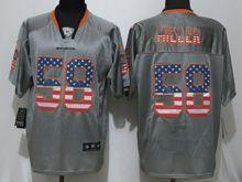 Mens Nfl New   Denver Broncos #58 Von Miller Gray Usa Flag Fashion Elite Jerseys