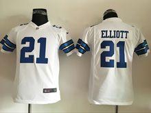 Youth   Dallas Cowboys #21 Ezekiel Elliott White Game Jersey