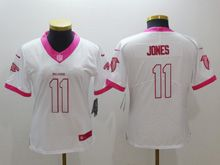 Women Nfl Atlanta Falcons #11 Julio Jones White Pink Color Rush Limited Jersey