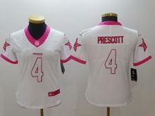 Women   Nfl Dallas Cowboys #4 Dak Prescott White Pink Color Rush Limited Jersey