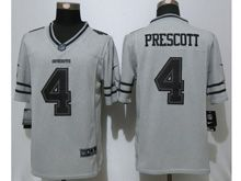 Mens   Dallas Cowboys #4 Dak Prescott Gray Stitched Gridiron Limited Jersey