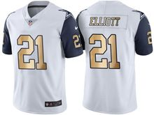Mens   Dallas Cowboys #21 Ezekiel Elliott White Gold Number Color Rush Limited Jersey
