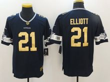 Mens   Dallas Cowboys #21 Ezekiel Elliott Dark Blue Gold Number 2016 Christmas Limited Jersey