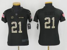 Youth   Dallas Cowboys #21 Ezekiel Elliott Black 2016 Salute To Service Jersey