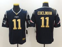 Mens   New England Patriots #11 Julian Edelman Navy Blue Gold Limited Jersey