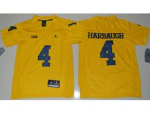 Youth Ncaa Nfl Jordan Brand Michigan Wolverines #4 Jim Harbaugh Yellow Limited Jersey