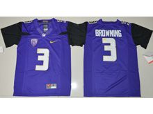 Youth Ncaa Nfl Washington Huskies #3 Jake Browning Purple Jersey