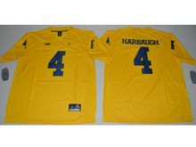 Mens Ncaa Nfl Jordan Brand Michigan Wolverines #4 Jim Harbaugh Yellow Limited Jersey