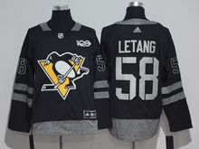 Mens Adidas Nhl Pittsburgh Penguins #58 Kris Letang Black 100 Anniversary Jersey