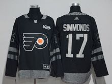 Mens Philadelphia Flyers #17 Wayne Simmonds Black 100 Anniversary Adidas Jersey