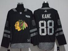 Mens Chicago Blackhawks #88 Patrick Kane Black 100 Anniversary Adidas Jersey