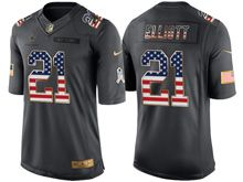 Mens   Dallas Cowboys #21 Ezekiel Elliott Green Usa Flag 2016 Salute To Service Jersey