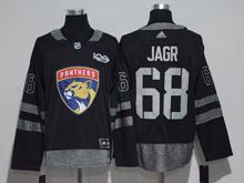 Mens Florida Panthers #68 Jaromir Jagr Black 100 Anniversary Adidas Jersey