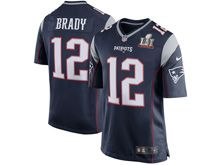 Mens New England Patriots #12 Tom Brady Navy Blue Super Bowl Li Bound Game Jersey