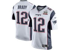 Mens   New England Patriots #12 Tom Brady White Super Bowl Li Bound Game Jersey