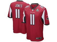 Mens   Atlanta Falcons #11 Julio Jones Red Super Bowl Li Bound Game Jersey