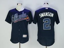 Mens Majestic Atlanta Braves #2 Swanson Navy Blue Flex Base Jersey