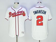 Mens Majestic Atlanta Braves #2 Swanson White Flex Base Jersey