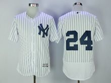 Mens Mlb New York Yankees #24 (no Name) White Stripe Flex Base Jersey