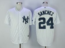 Mens Mlb New York Yankees #24 Gary Sanchez White Stripe Cool Base Jersey