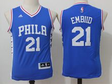 Youth Nba Philadelphia 76ers #21 Joel Embiid Blue Jersey