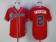 Mens Majestic Mlb Atlanta Braves #2 Swanson Red Flex Base Jersey