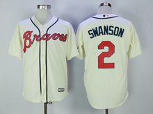 Mens Majestic Mlb Atlanta Braves #2 Swanson Cream Flex Base Jersey